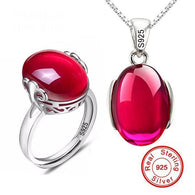 Ruby Ring & Necklace Set - 925 Solid Silver - Shopichic