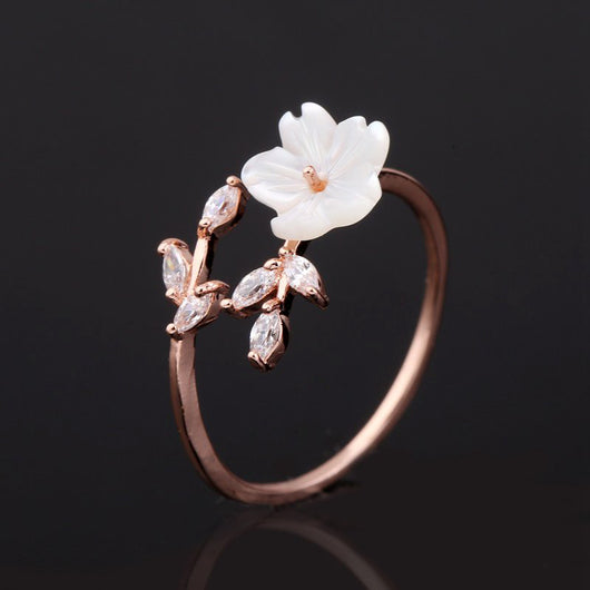 Zircon Crystal Rose Gold Leaf Ring - Shopichic
