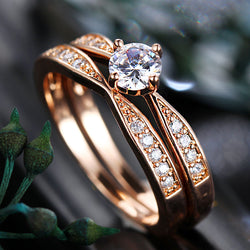 Rose Gold Cubic Zirconia Wedding Ring