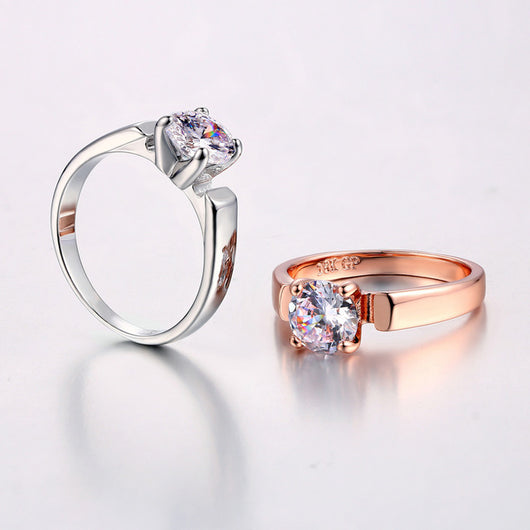 1.25 Carat Silver/Rose Gold Color Ring - Shopichic