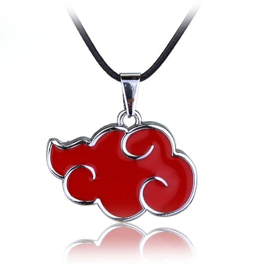 Naruto Akatsuki Organization Red Cloud Sign Metal Pendant Necklace Wit Free Naruto Keychain - Shopichic