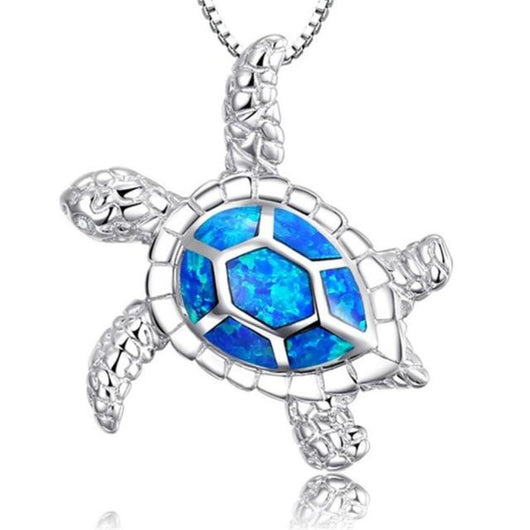 Silver Blue Imitati Opal Sea Turtle Pendant Necklace for Men Women Ocean Animal Jewelry With a FREE High Polished Rose Gold Unisex Ring - Shopichic