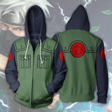 Naruto Kakashi Long Sleeve Full-Zip Bomber Jacket Hooded Varsity Jacket With a FREE Naruto KEYCHAIN - Shopichic