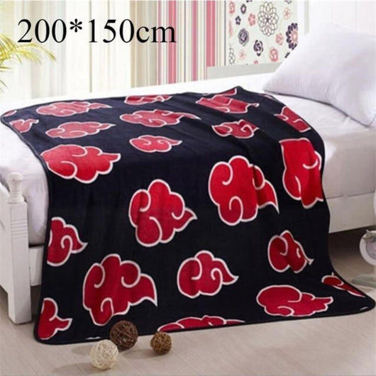 NARUTO Akatsuki Red Cloud Blanket Cosplay Prop Flannel Fleece Uchiha Itachi Pain Nagato With Free Naruto Necklace - Shopichic