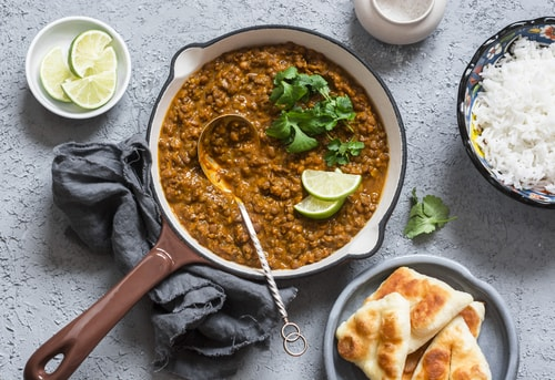 Lentil Curry with Coconut and Cauliflower Rice