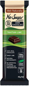 Well,naturally No Sugar Added Dark Chocolate Tahitian Lime Bars G/F 16x45g