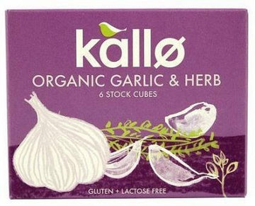 Kallo Stock Cubes Garlic & Herb Organic G/F 66g