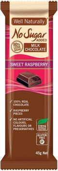 Well,naturally No Sugar Added Milk Chocolate Sweet Raspberry Bars G/F 16x45g