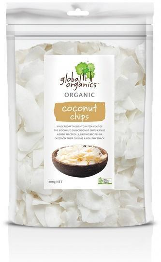 Global Organics Organic Coconut Chips G/F 200g