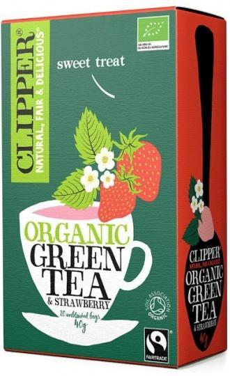 Clipper Fair Trade Organic Green Tea with Strawberry 20Teabags
