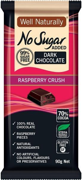 Well,naturally No Sugar Added Dark Chocolate Raspberry Crush Block G/F 12x90g