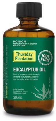 TP Eucalyptus Oil 100% 200ml-Health Tree Australia