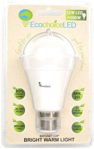 EcochoiceLED 12W Bayonet Cap Globe Bright Warm Light-Health Tree Australia