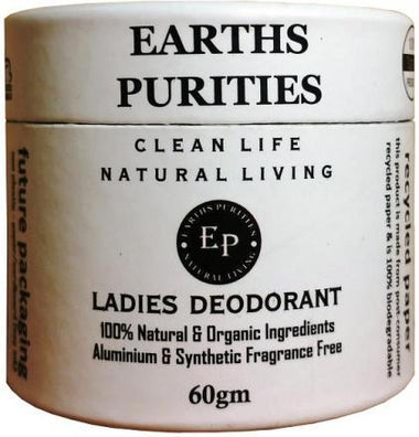 Earths Purities Ladies Natural Deodorant Pot with Applicator 60g-Health Tree Australia