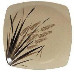 EcoSouLife Rice Husk (D19.5 x H2.5cm) Small Square Plate Print Rice Paddy-Health Tree Australia