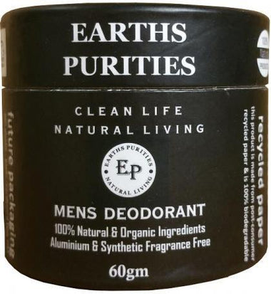 Earths Purities Mens Natural Deodorant Pot with Applicator 60g-Health Tree Australia