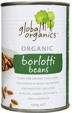 Global Organics Borlotti Beans 400g JUN17-Health Tree Australia