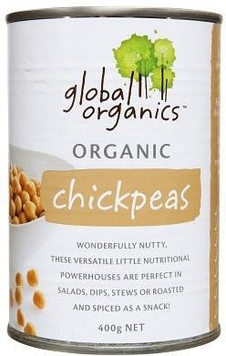 Global Organics Chick Peas 400gm-Health Tree Australia
