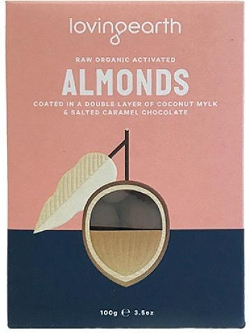 Loving Earth Raw Organic Activated Almonds Coated in Mylk & Salted Caramel Choc G/F 100g