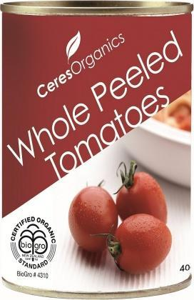 Ceres Organics Tomatoes Whole Peeled 400g (Can)-Health Tree Australia