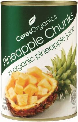 Ceres Organics Pineapple Chunks 400g (can)-Health Tree Australia