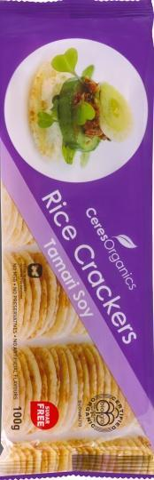 eres Organics Rice Crackers Tamari Soy 100g-Health Tree Australia