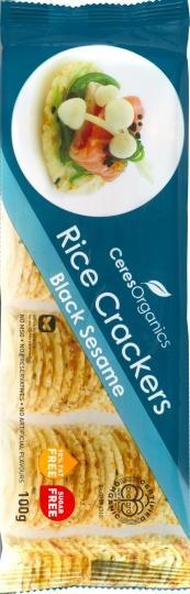 Ceres Organics Rice Crackers Black Sesame 100g
