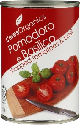 Ceres Organics Tomatoes Chopped With Basil 400g-Health Tree Australia