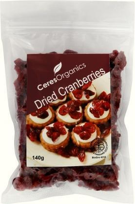 Ceres Organics Dried Cranberries 140g-Health Tree Australia