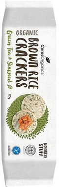 Ceres Organics Bio Brown Rice Crackers Green Tea & Seaweed G/F 115g