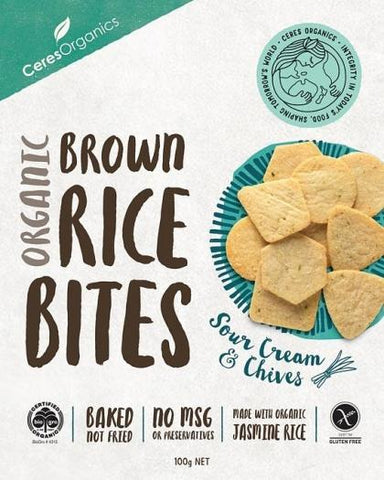 Ceres Organics Organic Brown Rice Bites Sour Cream & Chives G/F 100g Box-Health Tree Australia