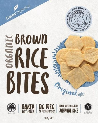 Ceres Organics Organic Brown Rice Bites Original G/F 100g Box-Health Tree Australia