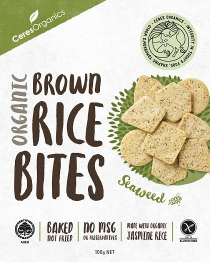 Ceres Organics Organic Brown Rice Bites Green Tea & Seaweed G/F 100g Box-Health Tree Australia