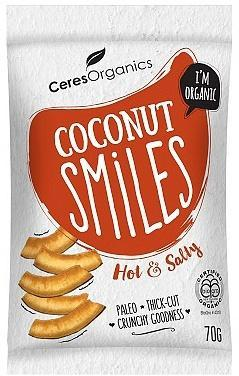 Ceres Organics Bio Coconut Smiles Hot & Salty 70g-Health Tree Australia