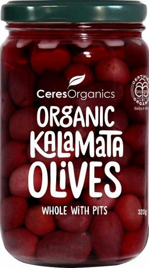 Ceres Organics Whole Kalamata Olives with Pits 320g-Health Tree Australia