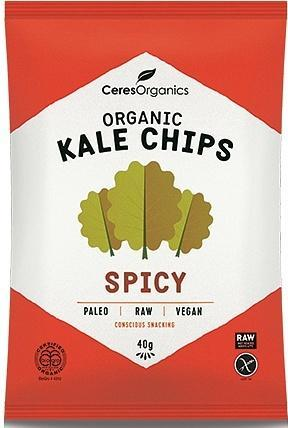 Ceres Organics Kale Chips Spicy 8x40g JUL17-Health Tree Australia