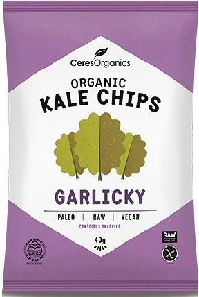 Ceres Organics Kale Chips Garlicky 8x40g-Health Tree Australia