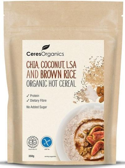 Ceres Organics Hot Cereal Chia Coconut LSA and Brown Rice 350g-Health Tree Australia