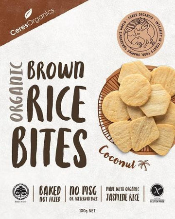 Ceres Organics Organic Brown Rice Bites Coconut G/F 100g Box