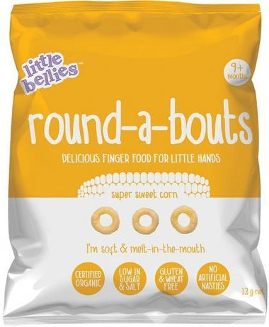 Little Bellies Organic Round-a-Bouts Super Sweet Corn Finger Food G/F (9+ months) 12g-Health Tree Australia