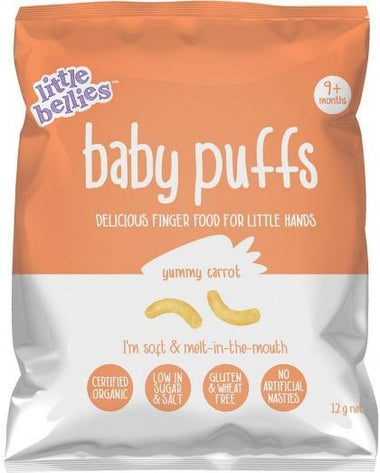 Little Bellies Organic Baby Puffs Yummy Carrot Finger Food G/F (9+ months) 12g-Health Tree Australia