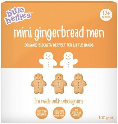 Little Bellies Organic Mini Gingerbread Man Biscuits (12+ months) 100g-Health Tree Australia