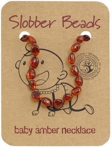 Slobber Beads Baby Cognac Oval Necklace