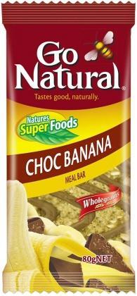 Go Natural Choc Banana Oat Bars 10x80g