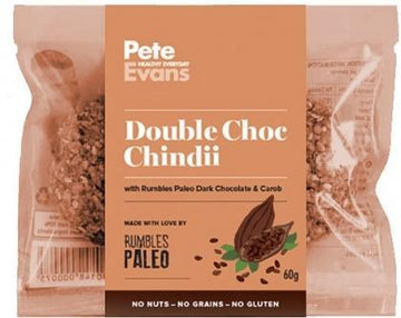 Rumbles Peter Evans Double Choc Chindii Cookie (2x30g) G/F 60g New