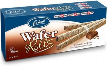 Eskal Wafer Rolls filled with Chocolate Flavoured Cream G/F 120g