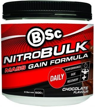 BSc Nitrobulk Muscle Premium Gainer Chocolate Fudge Powder 500g-Health Tree Australia