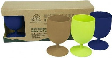 EcoSouLife Bamboo Eco Goblet Pack Mixed 4Pc-Health Tree Australia