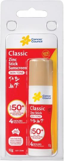 Cancer Council Classic Zinc Stick Skin Tone Sunscreen SPF50+ 12g-Health Tree Australia