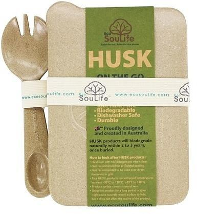 EcoSouLife Rice Husk On The Go Spork Set (W12cm x H5.5cm x L17cm) Natural-Health Tree Australia